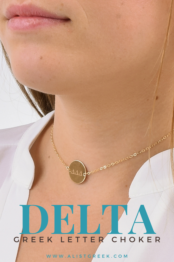 Rep your TriDelta letters with this stylish yet classy and highquality engraved choker Available in rose gold gold and sister theres a metal option for every Delta Delta...