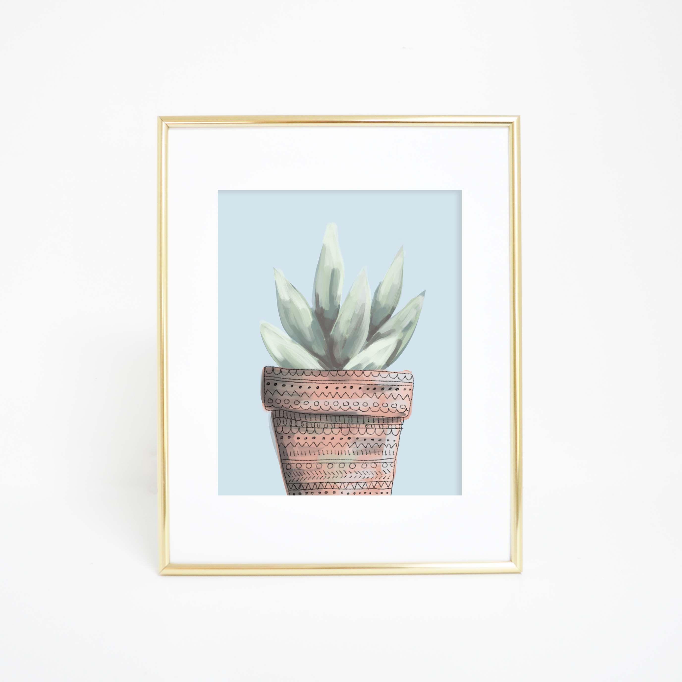 Blue cactus succulent art print printables pinterest products