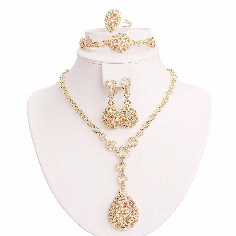 Moochi k gold plated crystal ebmedded water drop pendant jewelry