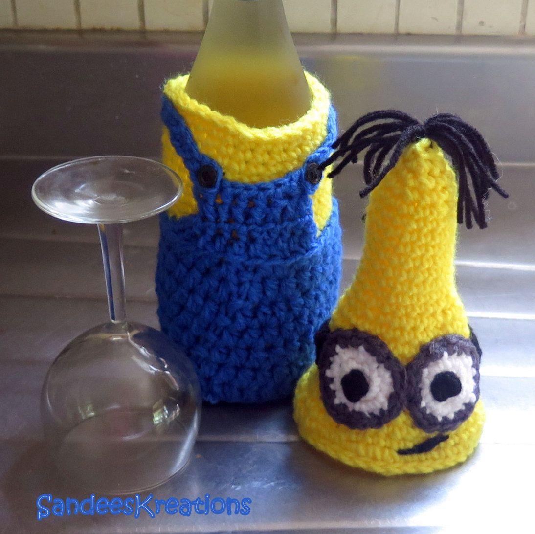 Crochet Minion Wine Bottle Cover, Wine Bottle Tote Bag, Minion ...