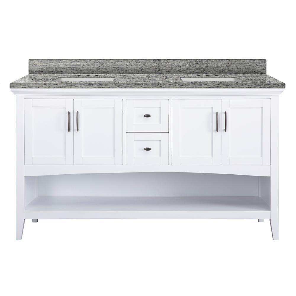 Home Decorators Collection Brattleby 61 in. W x 22 in. D Vanity in White with Granite Vanity Top in Santa Cecilia with White Basins
