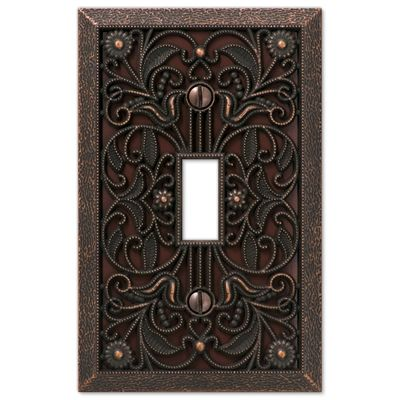 Amerelle Wall Plates Amerelle Wall Plate 65Tdb Filigree 1Gang Aged Bronze Single Toggle