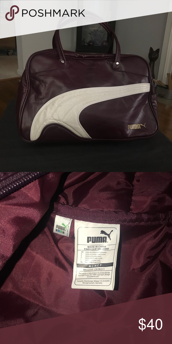 599673f6bc64 Vintage Puma Shoe Bag Gym Bag Carrier Vintage Puma Shoe Bag Gym Bag Carrier  Soccer Futball Bag Puma aa8 in burgundy and white Puma Bags Travel Bags