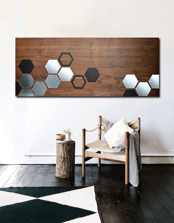 Modern wood mod honeycomb size 48x20 with walnut wood stain metal and black acrylic paint