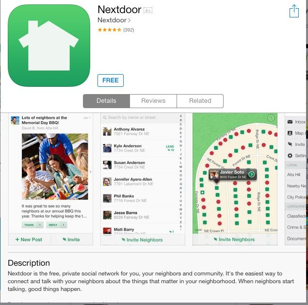 The Nextdoor App is a free private neighborhood network to