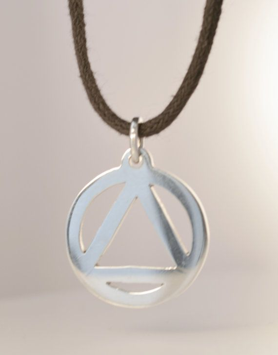 Large Aa Necklace For Men Sterling Silver Pendant Alcoholics