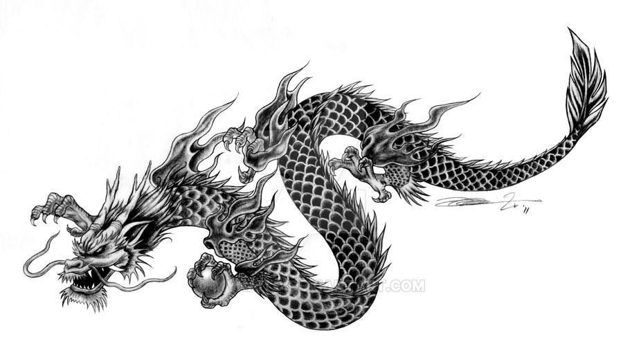 Commissioned tattoo art-Chinese style dragon by mynaito on DeviantArt