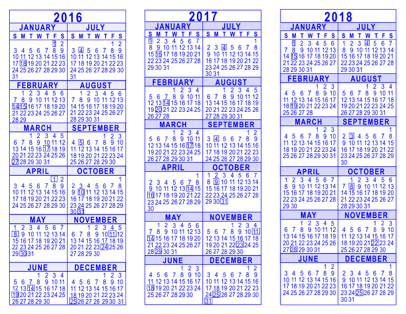 3 Year Calendars Different Styles Of Calendar Templates Templates