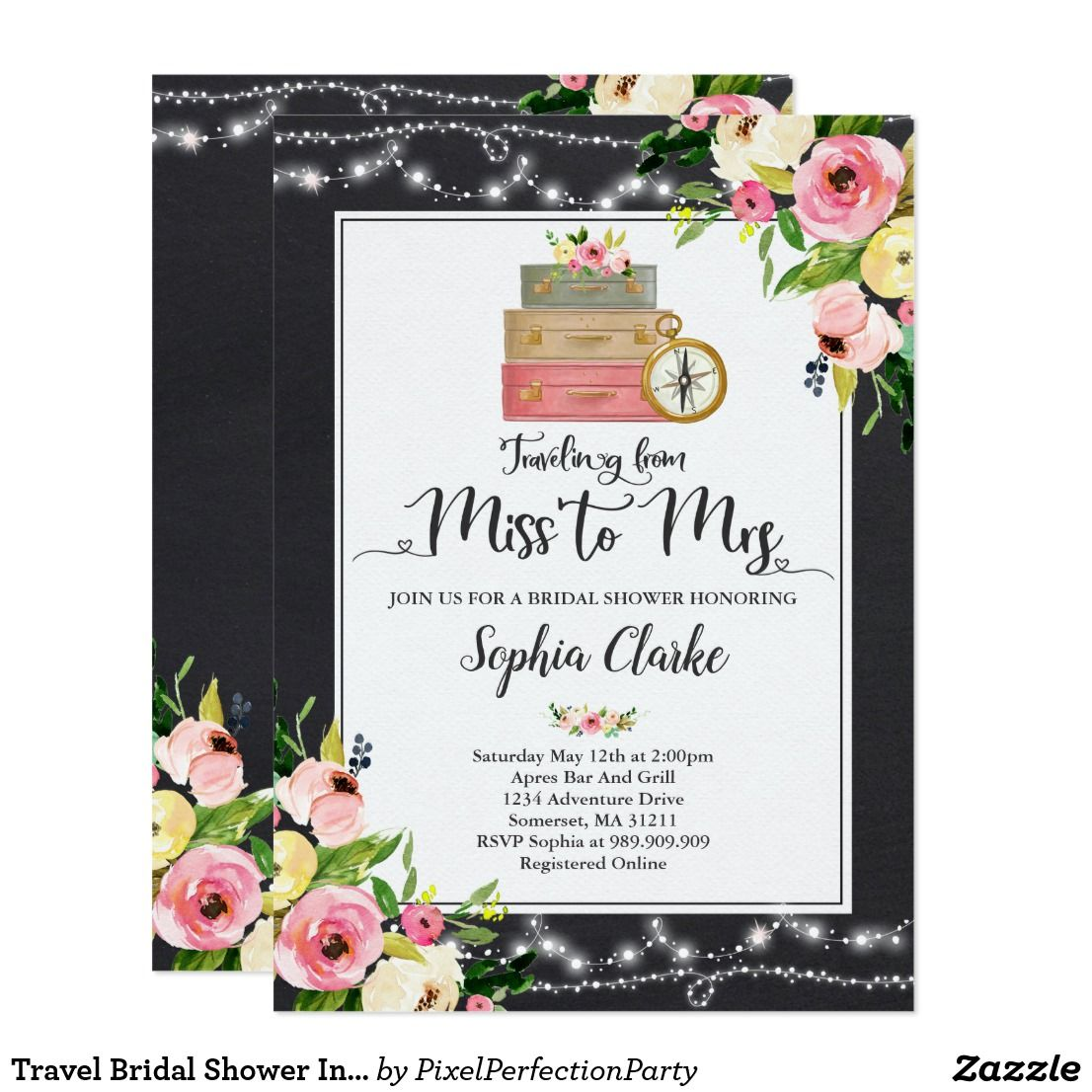 travel bridal shower invitation miss to mrs floral fun wedding invites customize these invitations for your weddings invitations invites weddings
