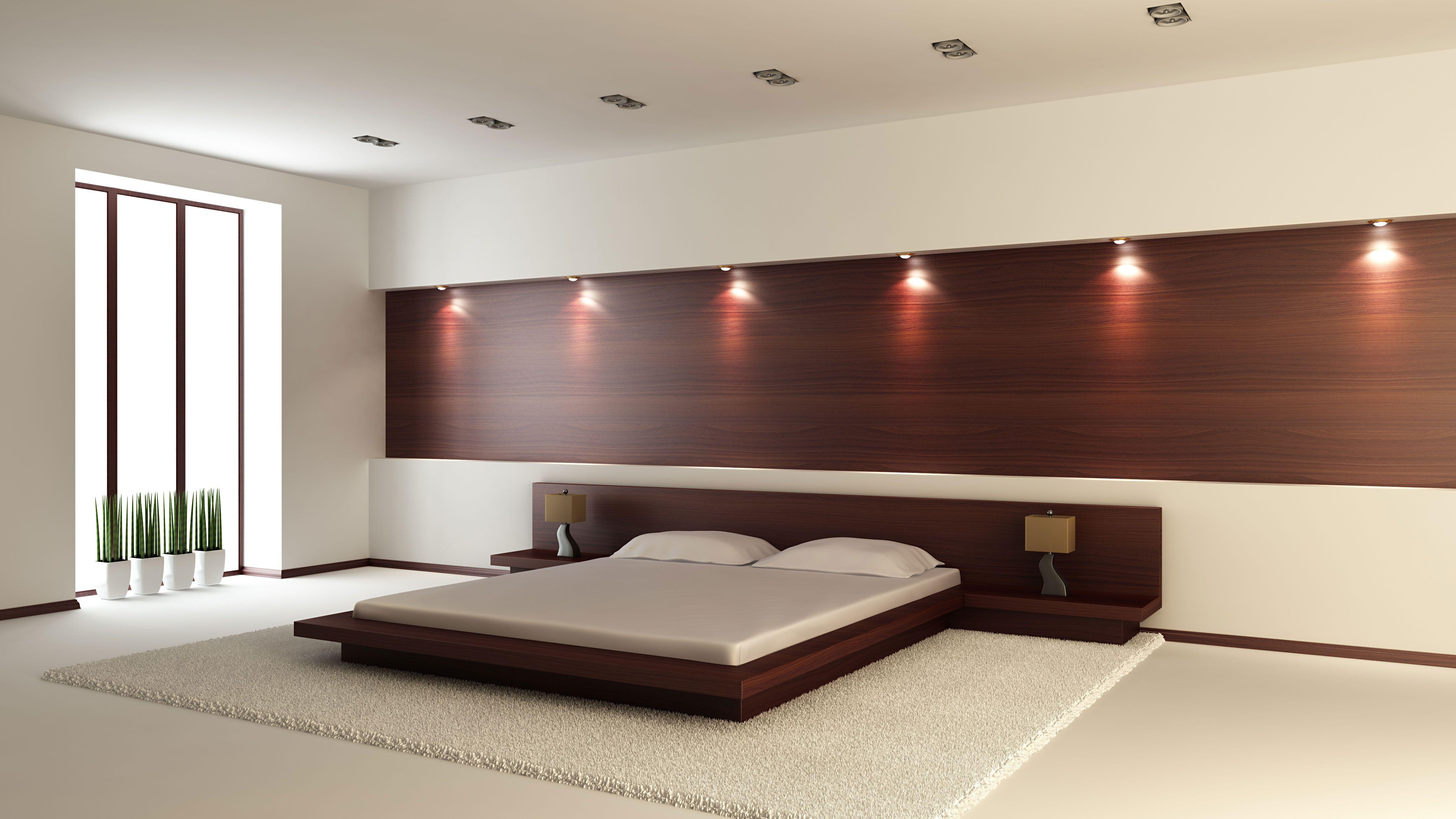 Hoofdeinde bed van muur tot muur loft interieur
