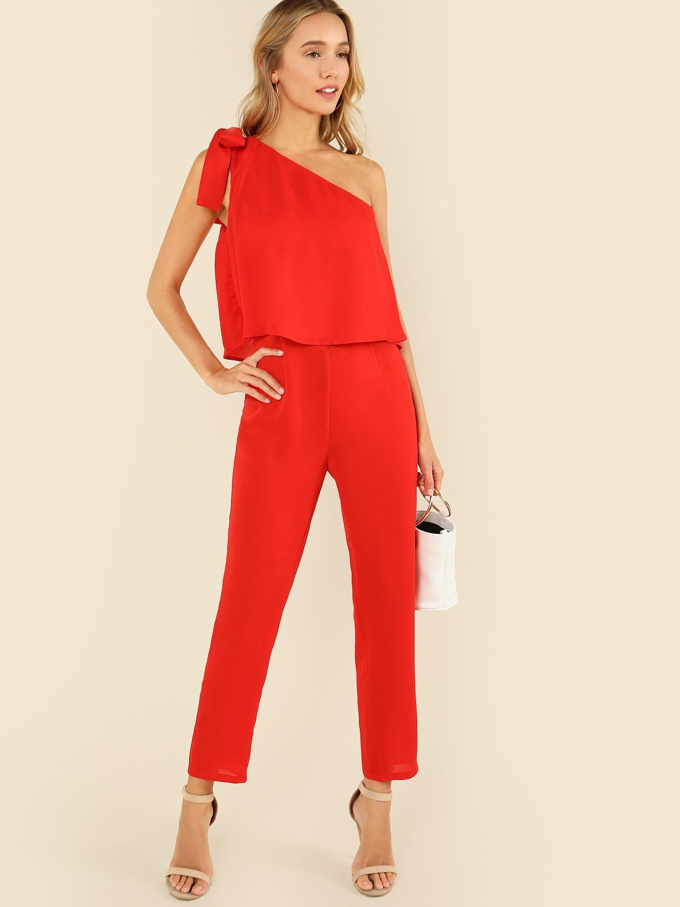 5aca343be055 Tied One Shoulder Ruffle Embellished Jumpsuit