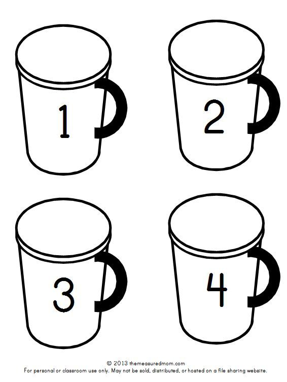 Hot Chocolate Math Free Printable Counting Mats Hot Chocolate