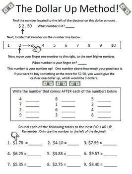 Dollar Up Method Money Math Basic Math Skills Life Skills Classroom