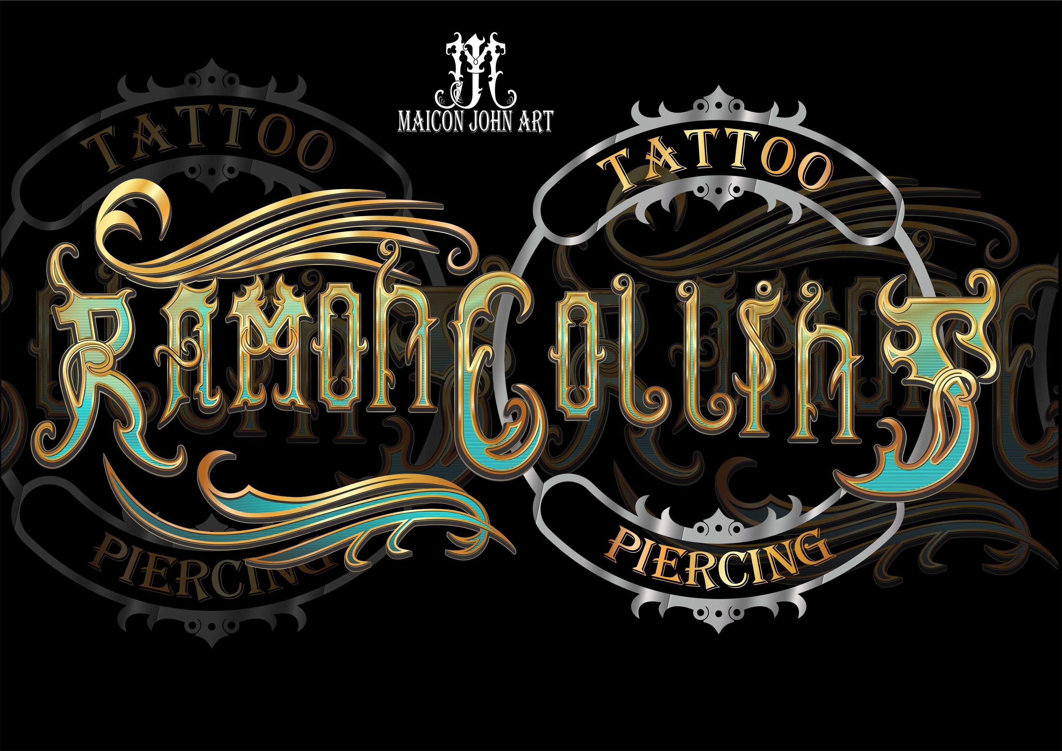 tattoo studio logo/lettering my creation em 2020 Estúdio