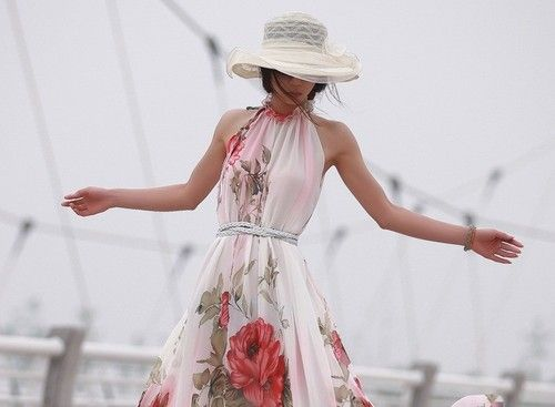 3cfc9808fed2 Summer Elegant BoHO Lotus Leaf Big Hem Chiffon Maxi Flowers Dress Long Dress  A  15.29