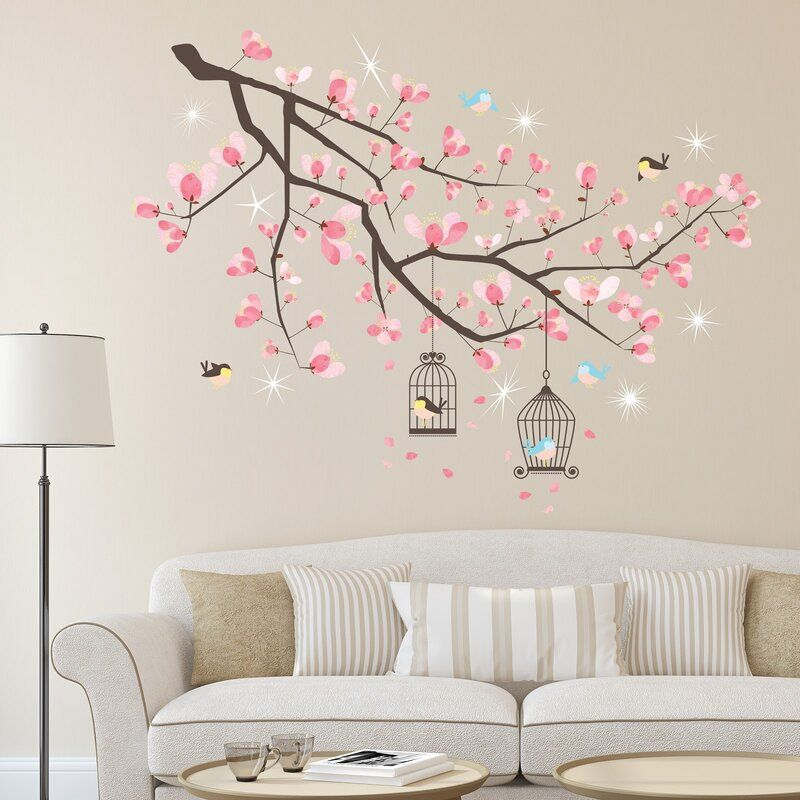 Crystal Cherry Blossom Tree Wall Sticker Cherry Blossom Wall Art Pink Nursery Decor Tree Wall Stickers
