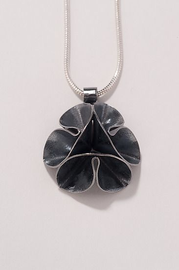 Silver Necklace - A pendant, hand fabricated in sterling silver, in the form of a flower.