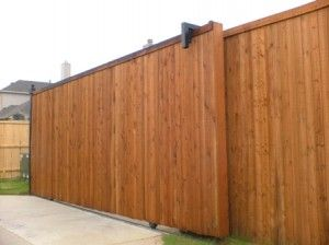 Wood Sliding Electric Driveway Gate Landscaping Ideas