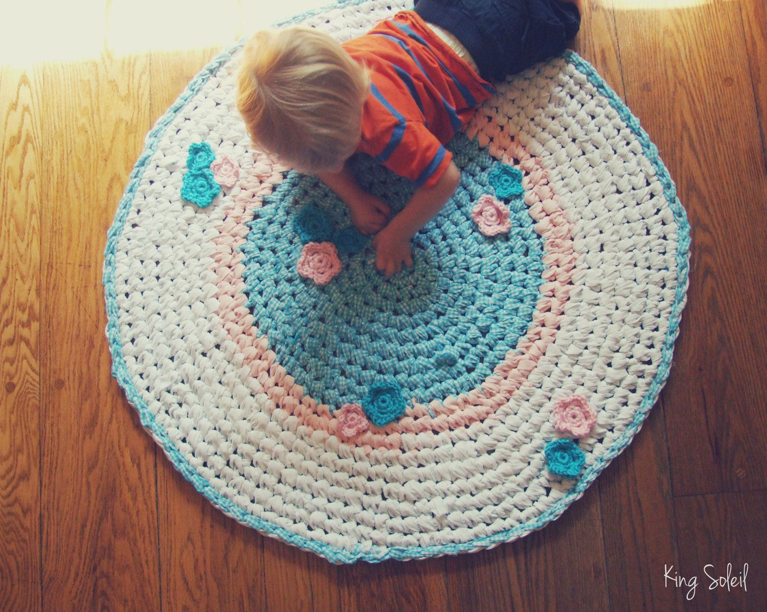 Crochet Rug Garden Flowers Teal Gingham Pink And White Nursery Children S Rug As Featured In Inside Crochet Maga Childrens Rugs Baby Rag Quilts Crochet Nursery