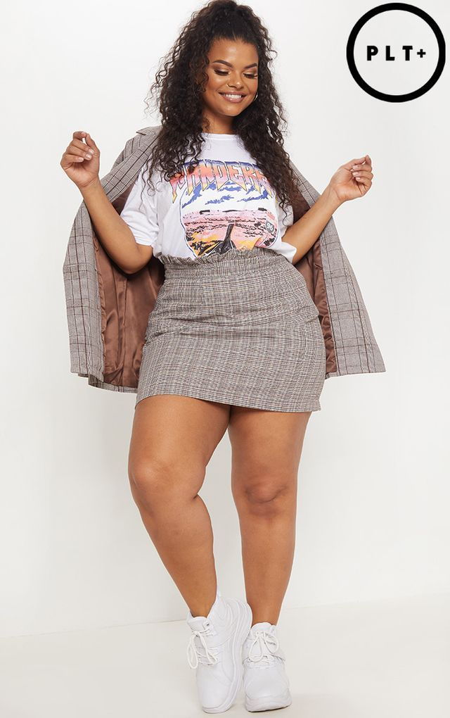 Plus Brown Frill Top Checked Skirt