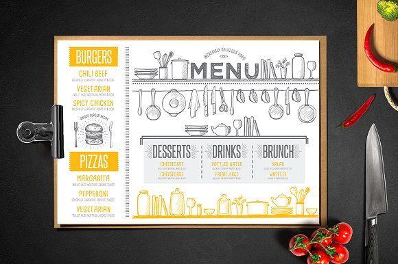 Food Menu Restaurant Flyer  Creativework  Brochure Design