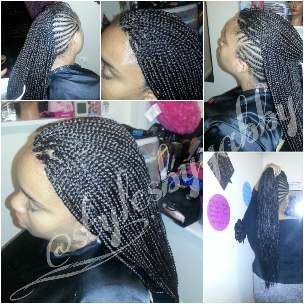 Mohawk with box braids shared by gabby mahair braid styles