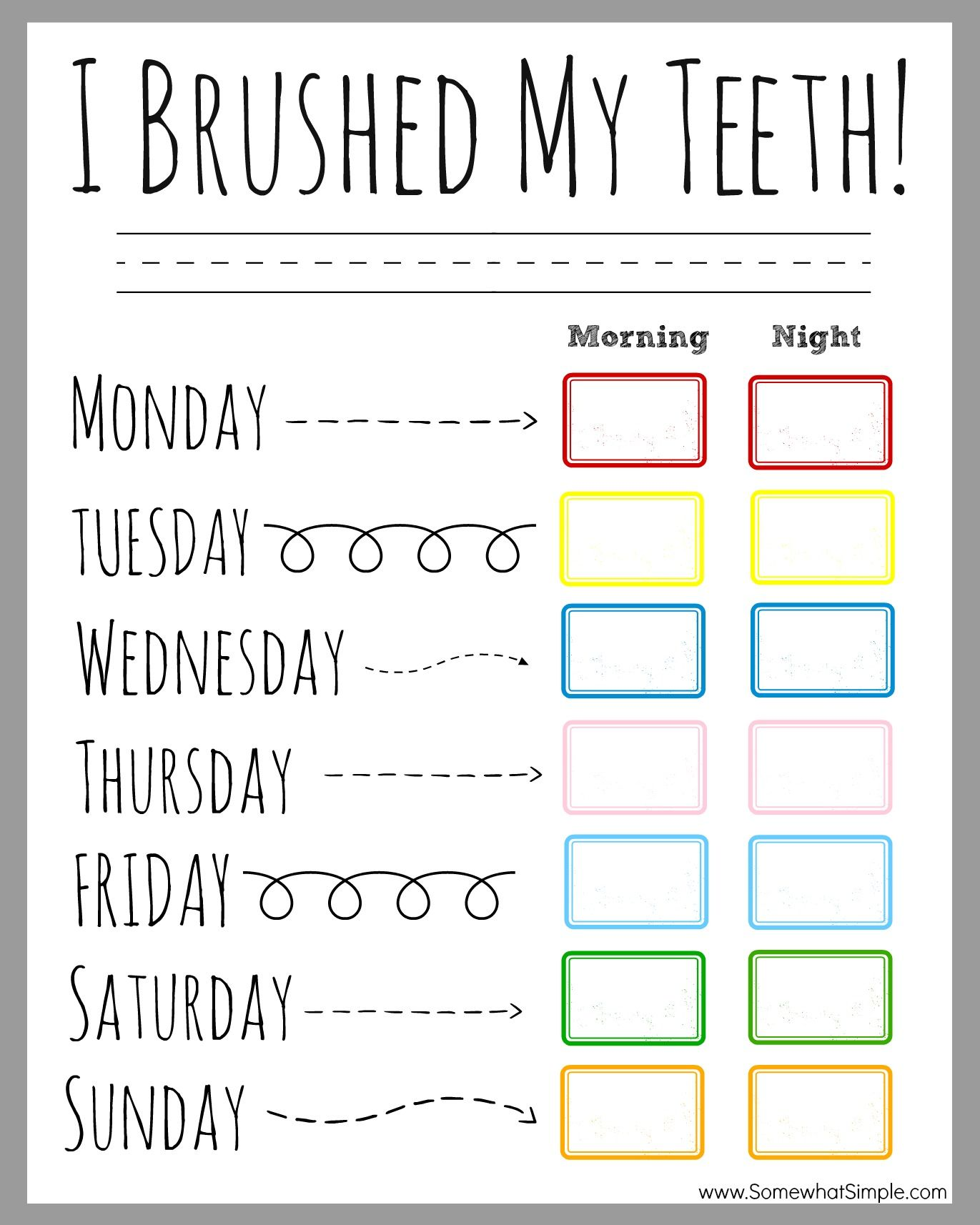 Tooth Brushing Chart For Kids Free Printable