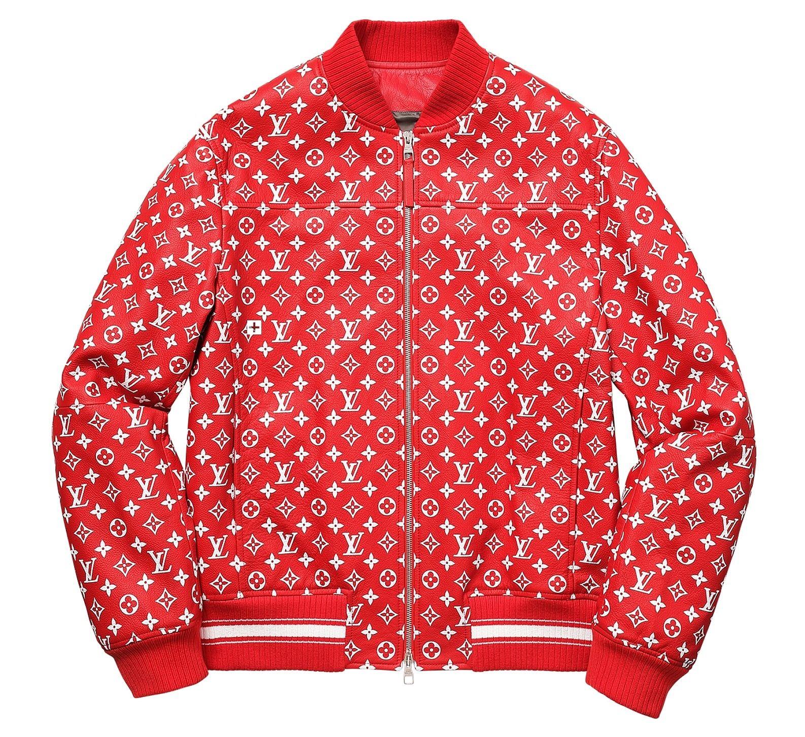 Louis Vuitton Supreme X Leather Bomber Varsity Jacket
