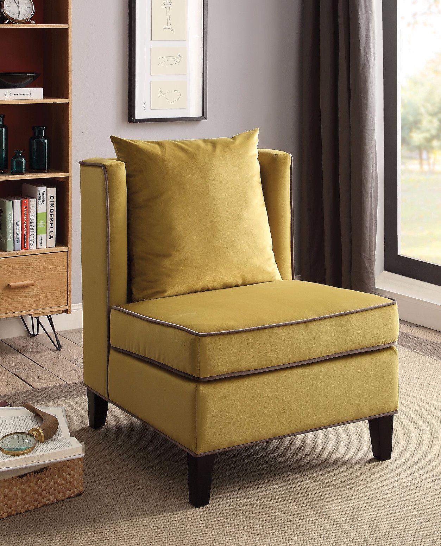 Golden Yellow Velvet Accent Chair