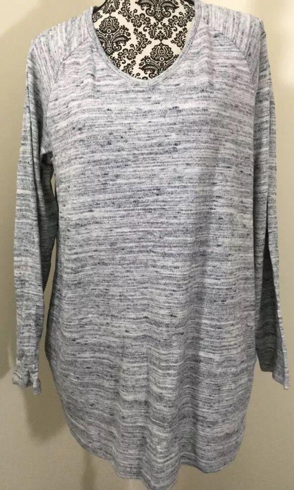 PURE JILL J Jill Sweater 100% Cotton Tunic Gray Blue Heather ...