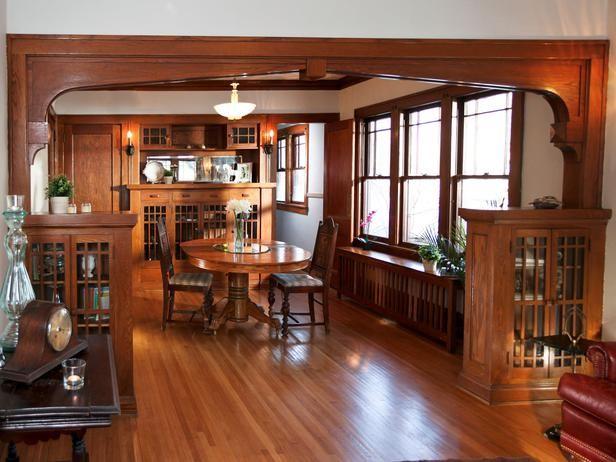 1920s Bungalow Restoration On Rehab Addict Craftsman Dining Room Craftsman Style Homes Craftsman Style Dining Room