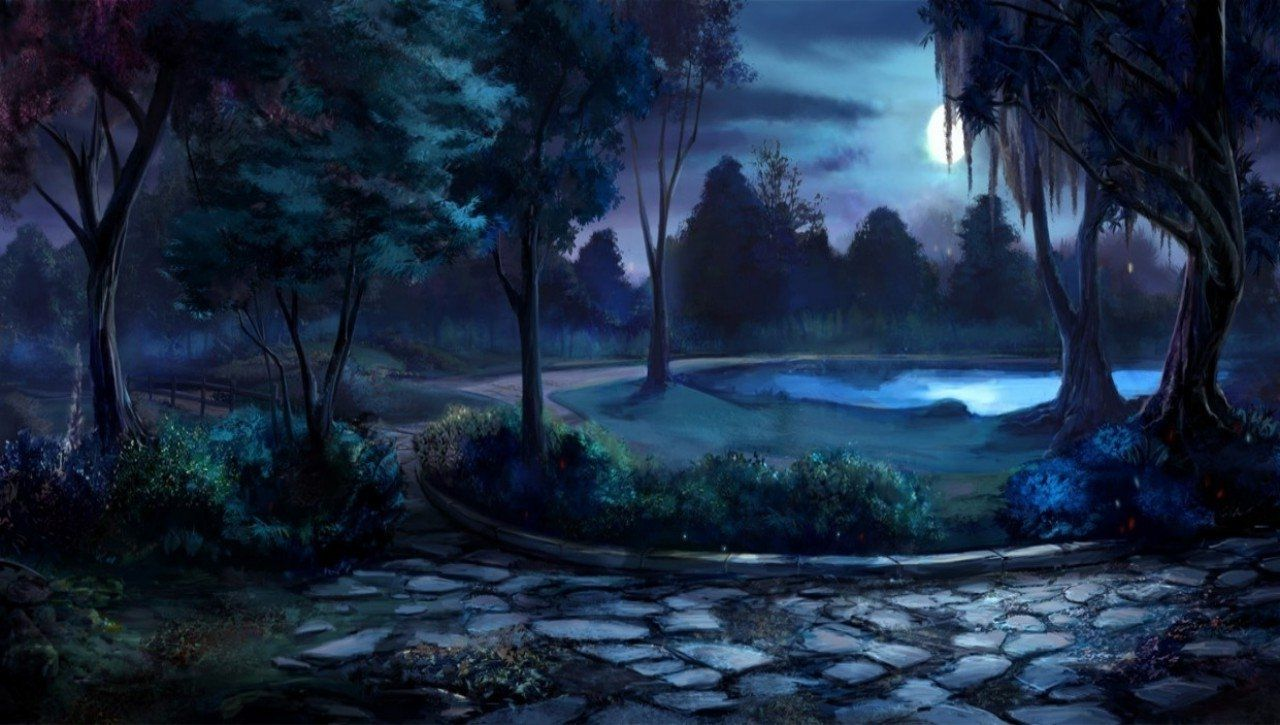 moon garden at night WILLOW TREE LANE AT NIGHT, FLOWERS