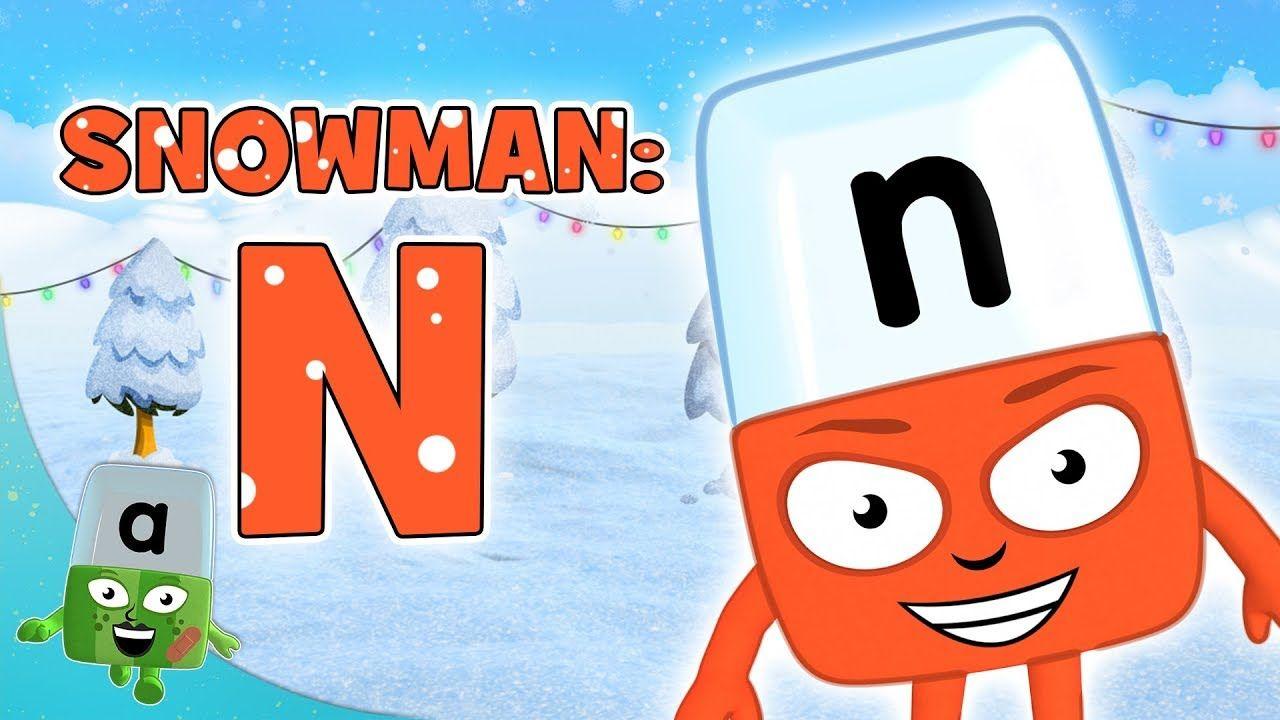 Alphablocks Letter N Spelling 'SNOWMAN' Phonics for