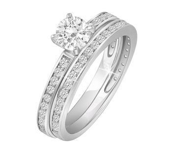 $539.99 - 3/4 Carat TDW Certified Diamond Bridal Set in 14K White Gold
