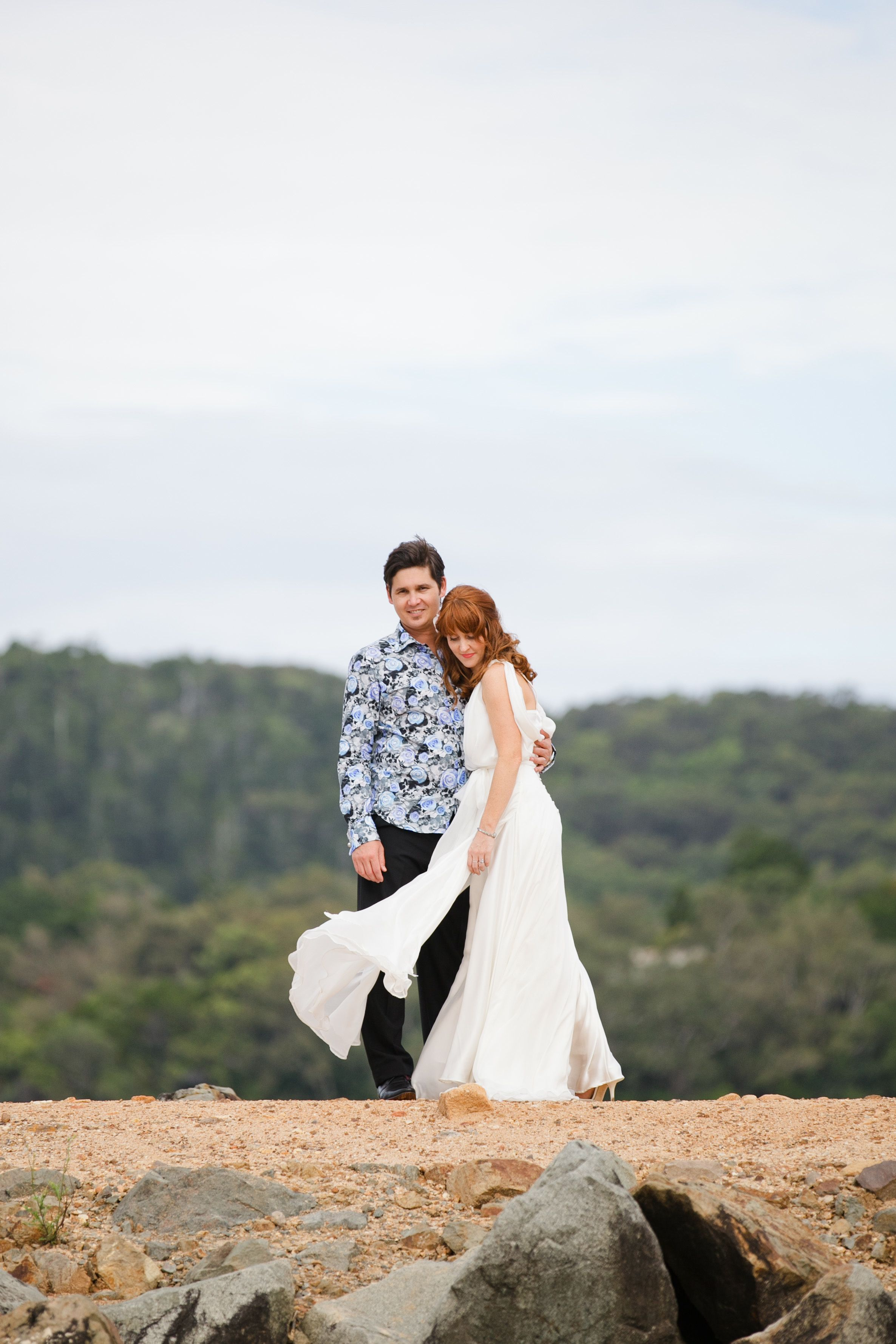 Last pin of my wedding...  Try a floaty dress instead of a veil for movement in the photos. Get the guys to rock out in floral shirts.  Dress code? Maybe try floral for groom, stripes for bride. Sweet.....