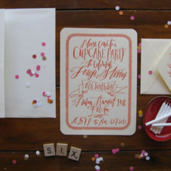 Party invites for 6 yr old. Betsy Dunlap calligraphy does it again! Just gorgeous!!!