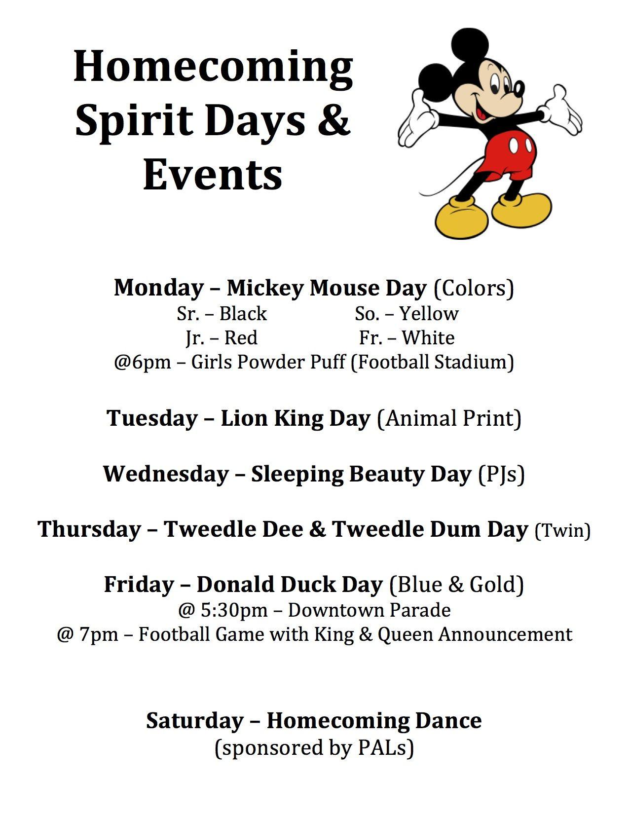 Unique ideas for spirit week - Homecoming Spirit Days