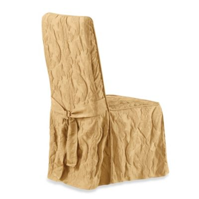 Sure Fit Matelasse Damask Long Dining Chair Cover Bed Bath Beyond Dining Room Chair Slipcovers Dining Room Chair Covers Dinning Room Chairs