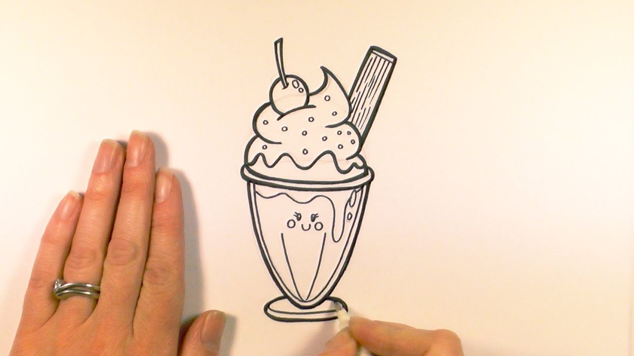 How To Draw A Cartoon Ice Cream Sundae Youtube Draw Ice Cream Sundae Ice Cream Sundae