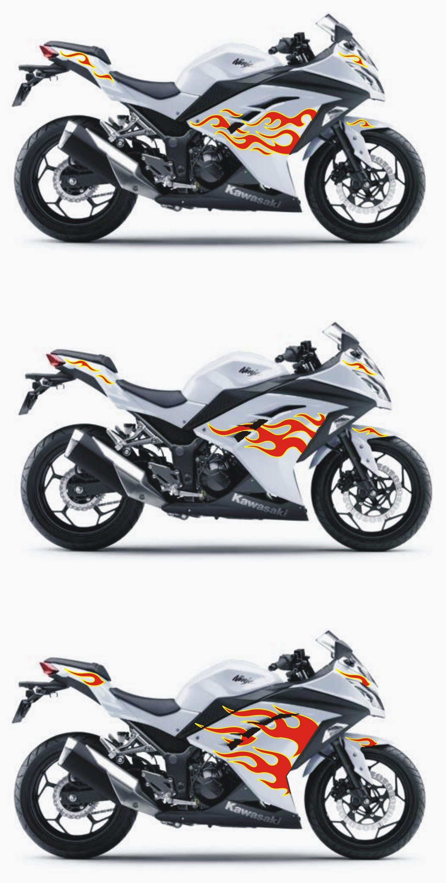 Kawasaki Ninja F Red Yellow Flame Sticker Cutting Arts - Stickers for motorcycles kawasaki