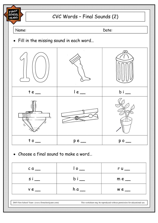 Math Worksheets Ending Sound Worksheet Cvc Words Pinterest