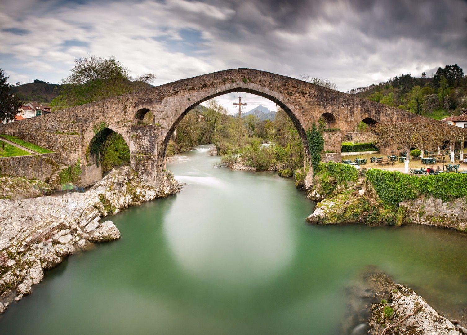 Old Roman stone bridge in Cangas de Onis (Asturias), Spain.