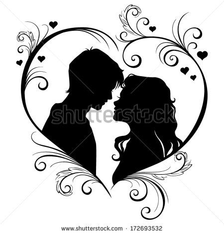 Vector silhouette of a loving couple in the hear frame isolated on ...