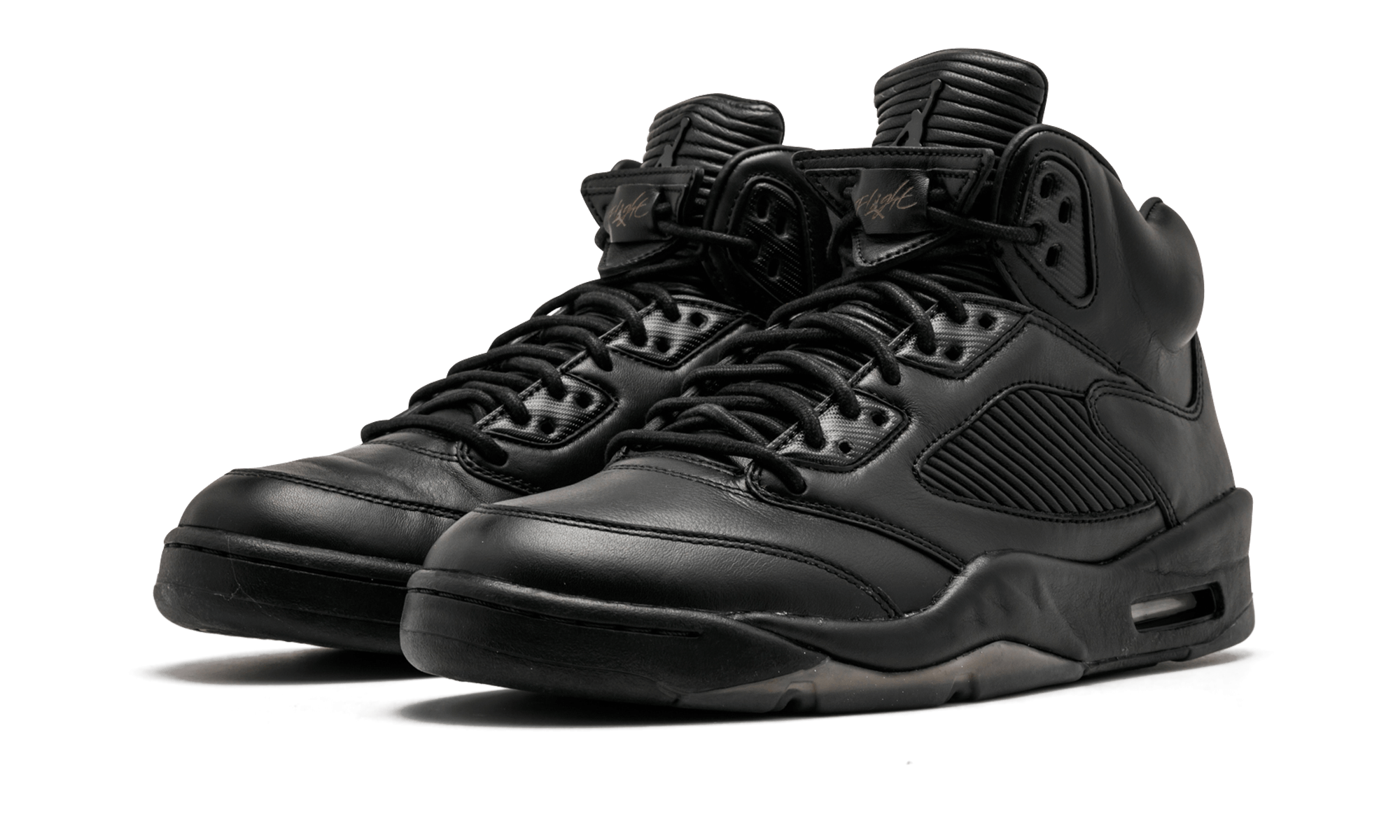 28630e819f9 Air Jordan 5 Retro Premium Black Leather Sneakers