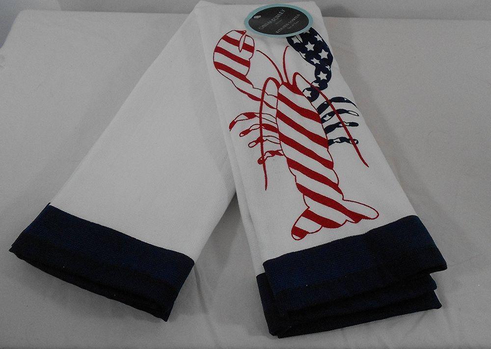 Cynthia Rowley Set Of 2 Kitchen Towels American Flag Lobster 100% Cotton  NEW #CynthiaRowley