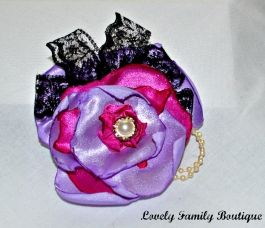 Shabby Pink Purple Flower Brooch or Hair Clip / Satin Lace Flower Brooch/ Hair Clip / Brooch/ Flower Brooch / Flower Hair Clip // 4""
