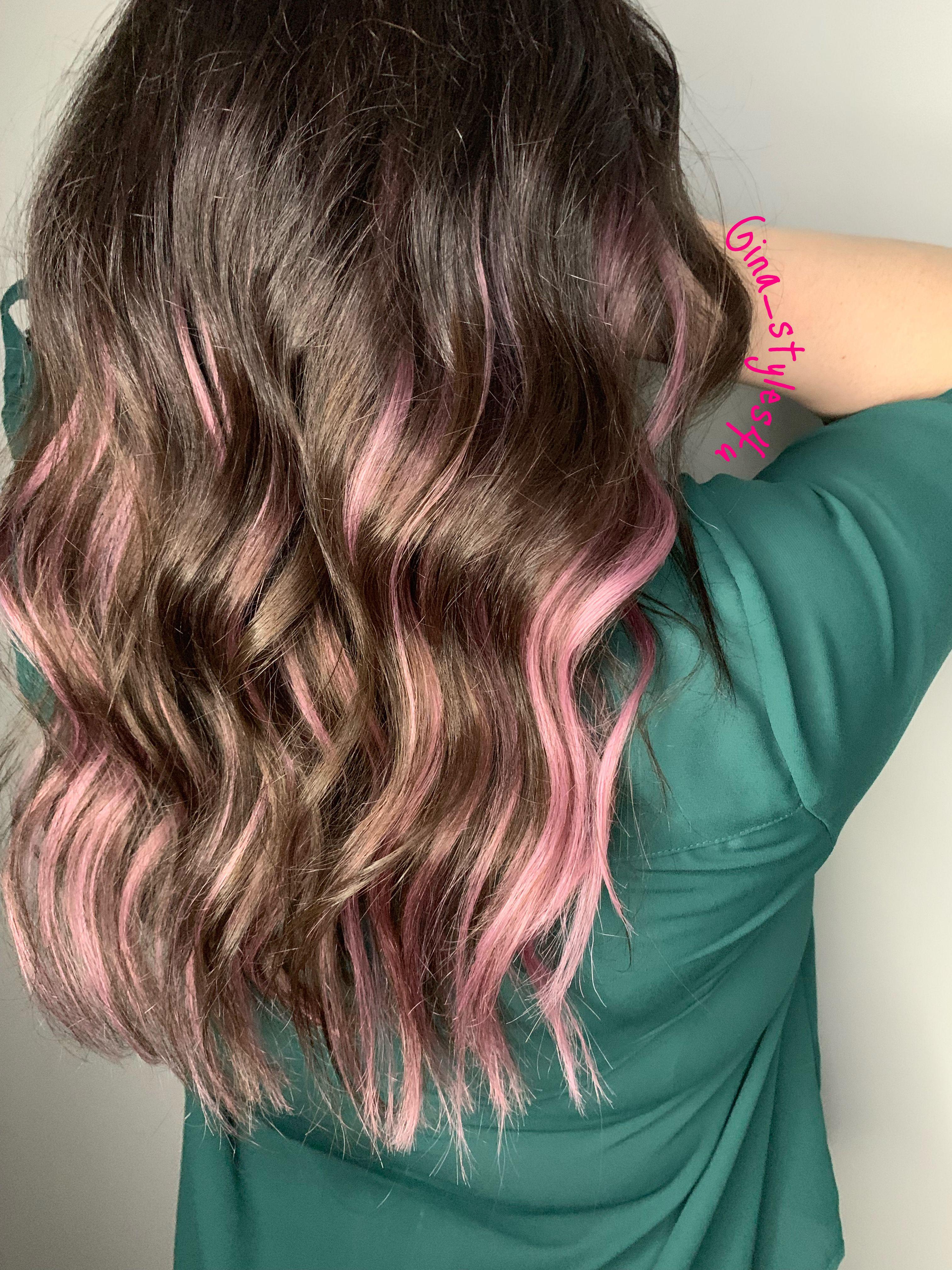 Pink Highlights Pink Hair Streaks Pink Hair Highlights Brown Hair With Pink Highlights