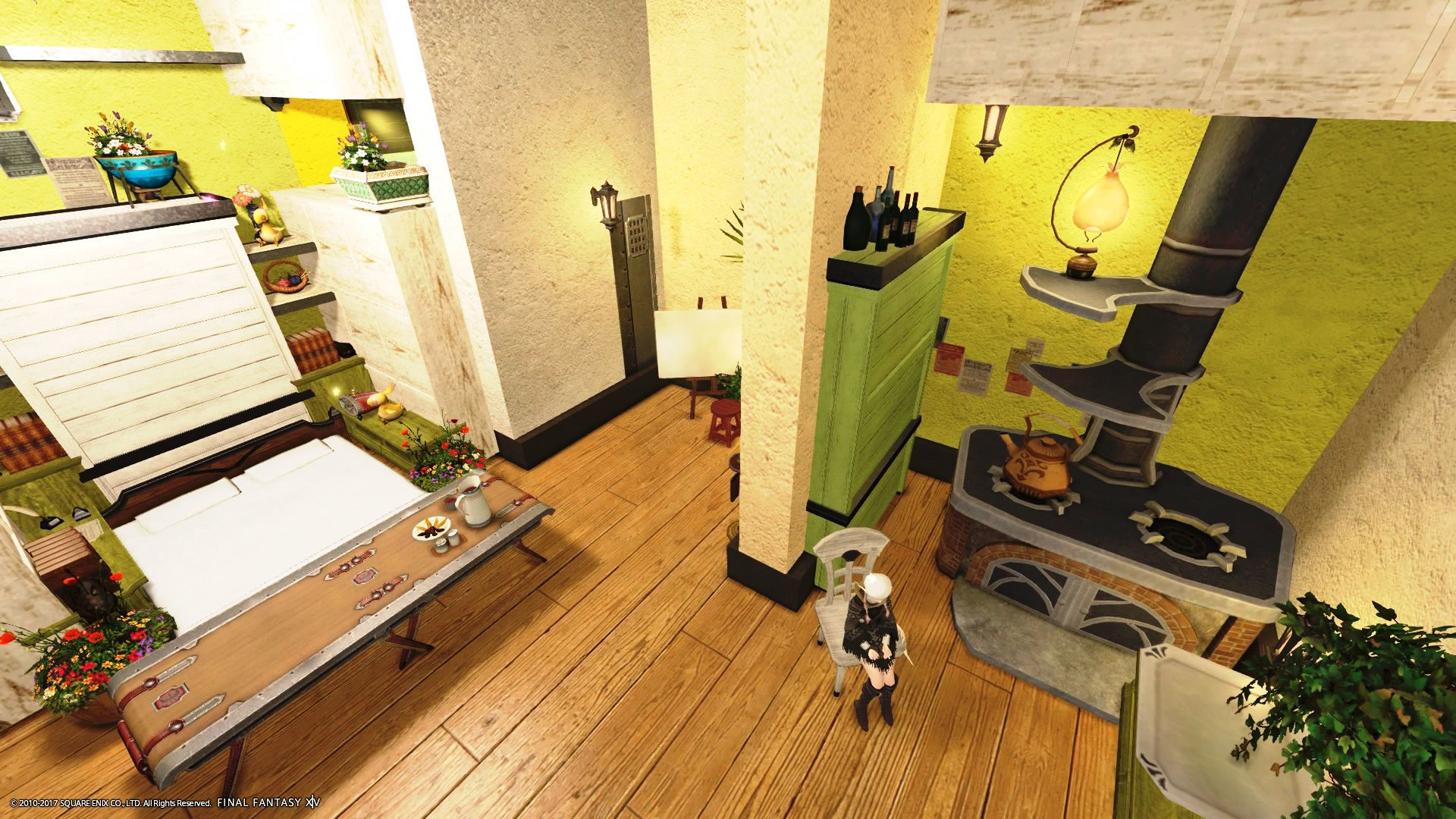 Lime green highlights - light wood - white walls | FFXIV Housing ...