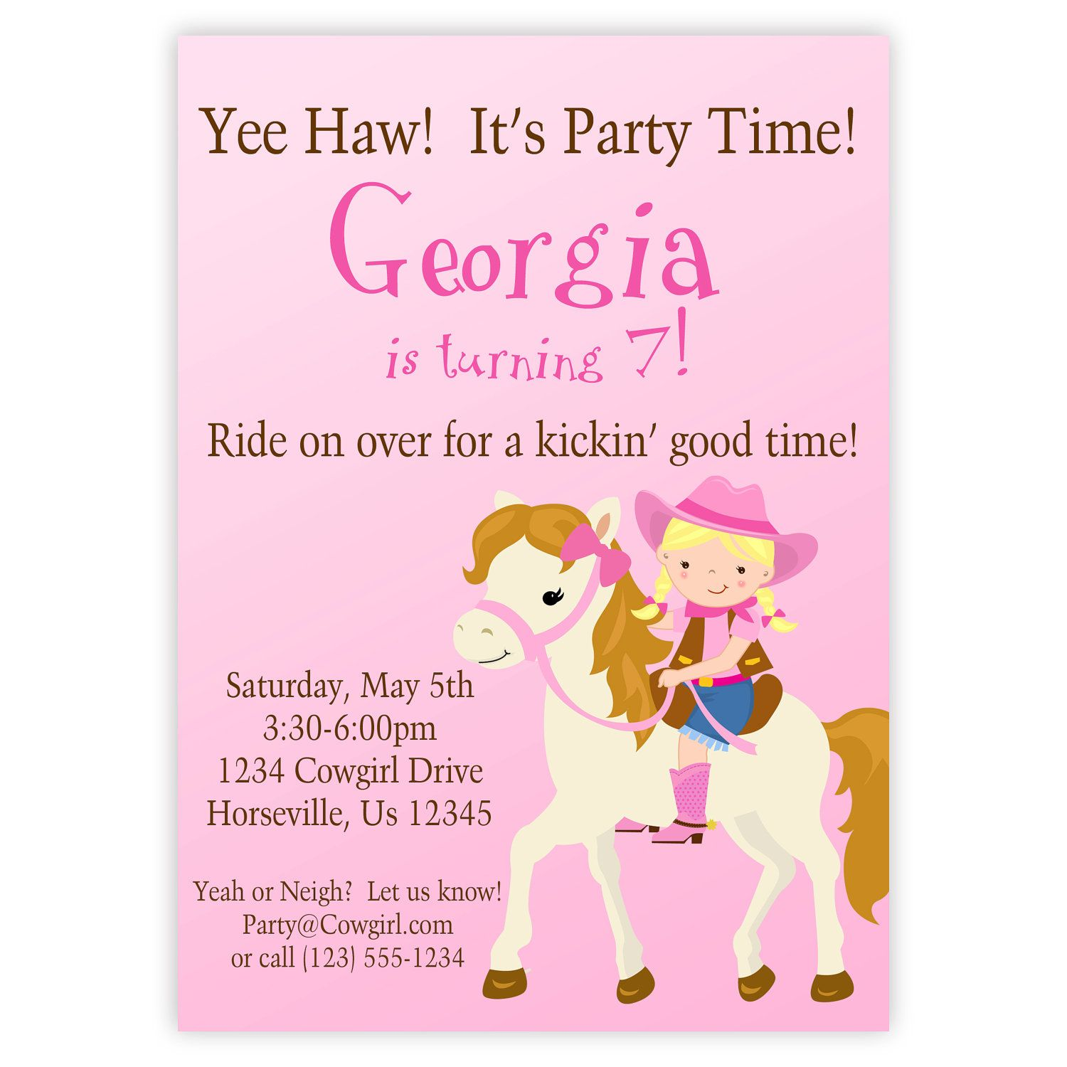 Cowgirl invitation cute pink girl cowgirl and horse personalized cowgirl invitation cute pink girl cowgirl and horse personalized birthday party invite a digital printable file filmwisefo Images