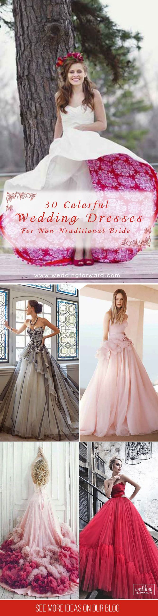 24 Colorful Wedding Dresses For Non-Traditional Bride | Pinterest ...
